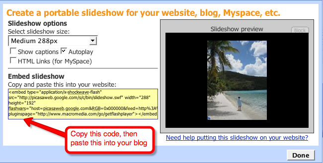 Copying code for slideshow from Picasa